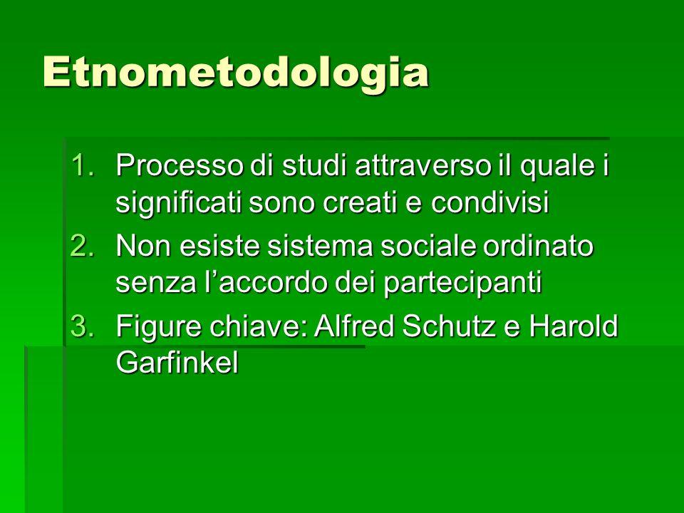 Etnometodologia Processo di studi attraverso il quale i significati sono creati e condivisi.