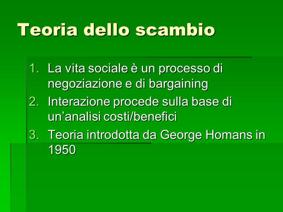 Teoria dello scambio La vita sociale è un processo di negoziazione e di bargaining. Interazione procede sulla base di un'analisi costi/benefici.