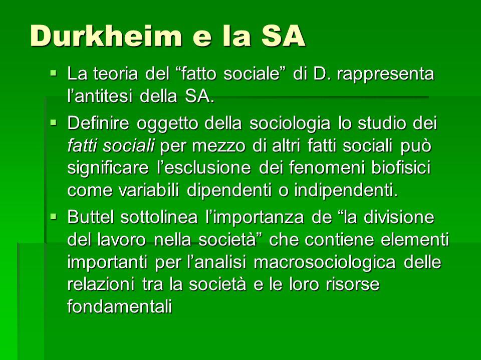 Durkheim e la SA La teoria del fatto sociale di D. rappresenta l'antitesi della SA.