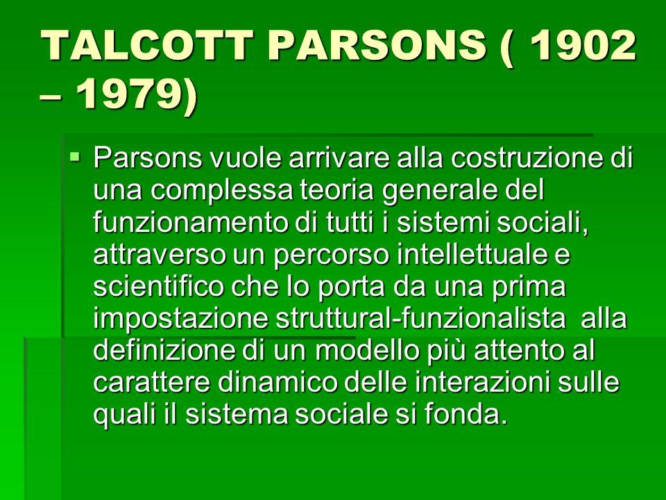 TALCOTT PARSONS ( 1902 – 1979)