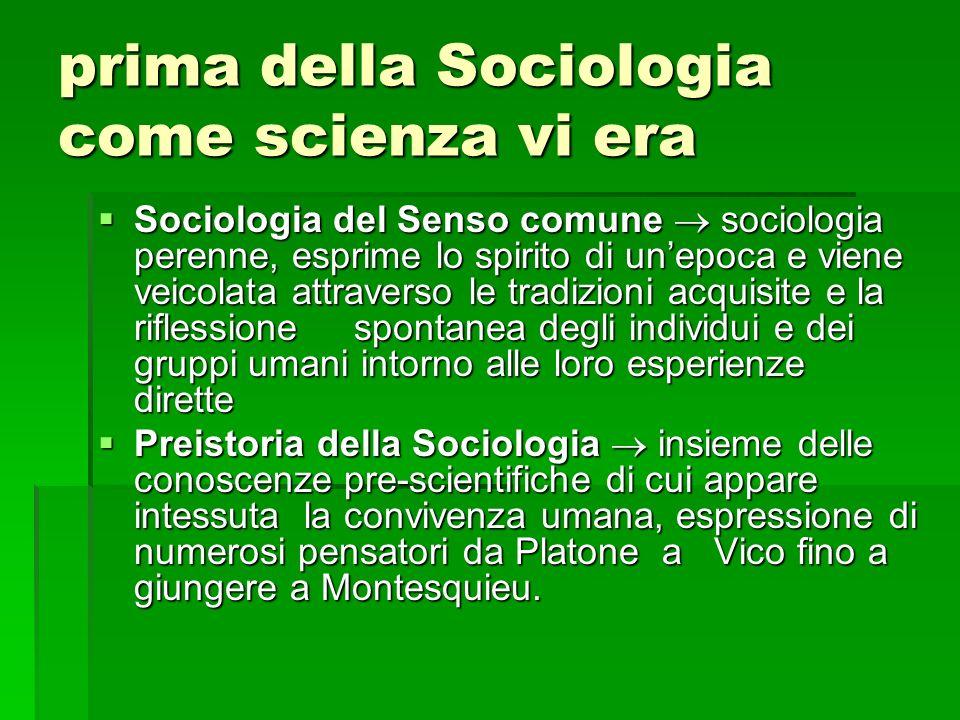 prima della Sociologia come scienza vi era