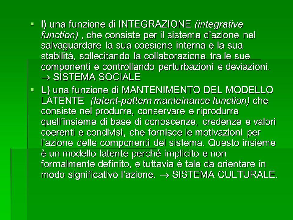 I) una funzione di INTEGRAZIONE (integrative function) , che consiste per il sistema d'azione nel salvaguardare la sua coesione interna e la sua stabilità, sollecitando la collaborazione tra le sue componenti e controllando perturbazioni e deviazioni.  SISTEMA SOCIALE