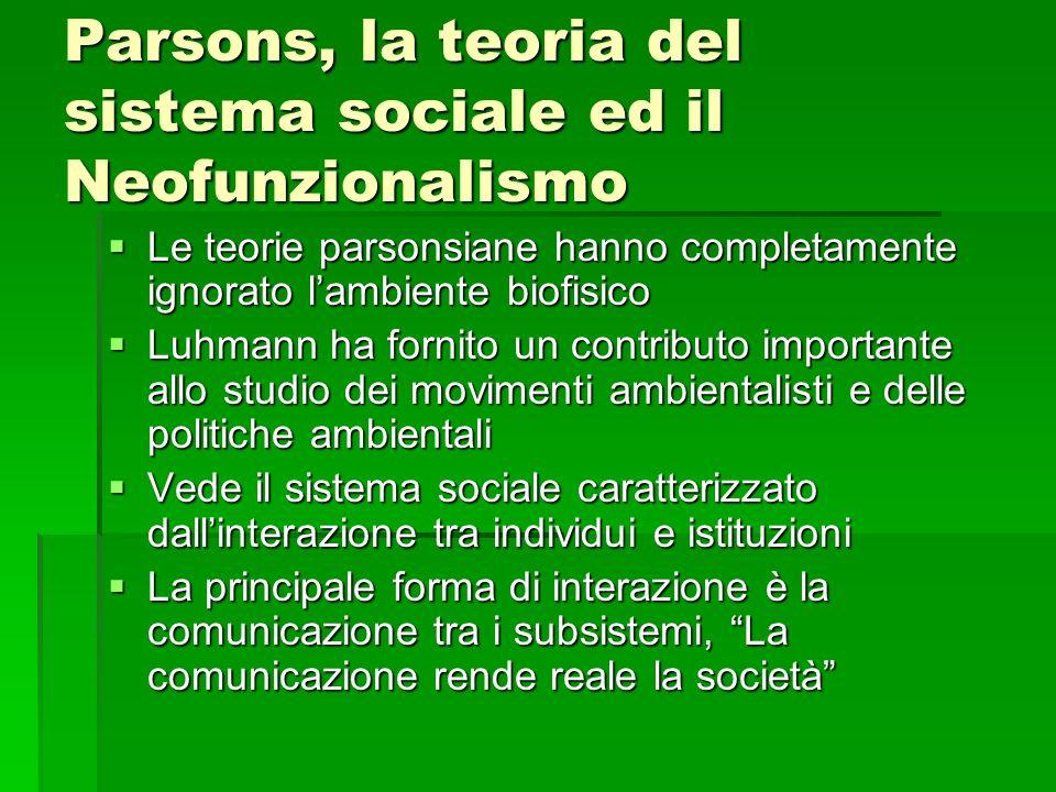 Parsons, la teoria del sistema sociale ed il Neofunzionalismo