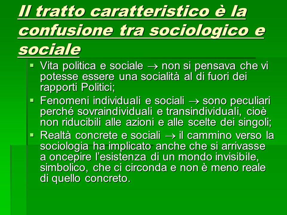 Il tratto caratteristico è la confusione tra sociologico e sociale