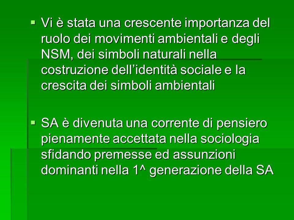 Vi è stata una crescente importanza del ruolo dei movimenti ambientali e degli NSM, dei simboli naturali nella costruzione dell'identità sociale e la crescita dei simboli ambientali