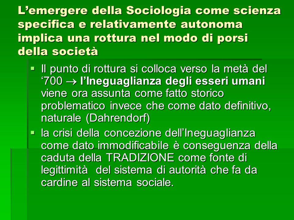 L'emergere della Sociologia come scienza specifica e relativamente autonoma implica una rottura nel modo di porsi della società