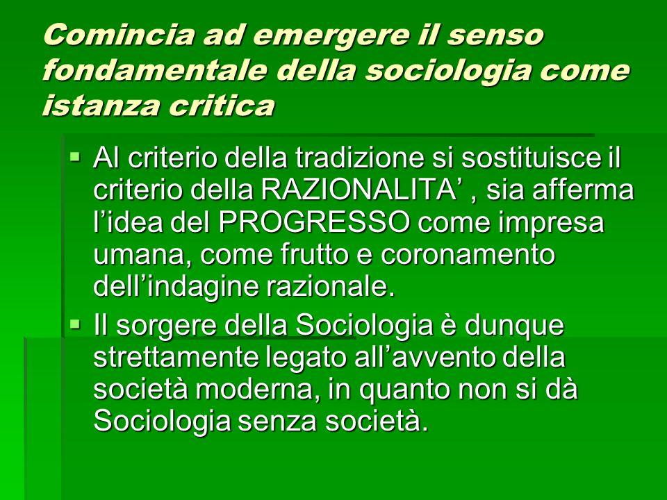 Comincia ad emergere il senso fondamentale della sociologia come istanza critica