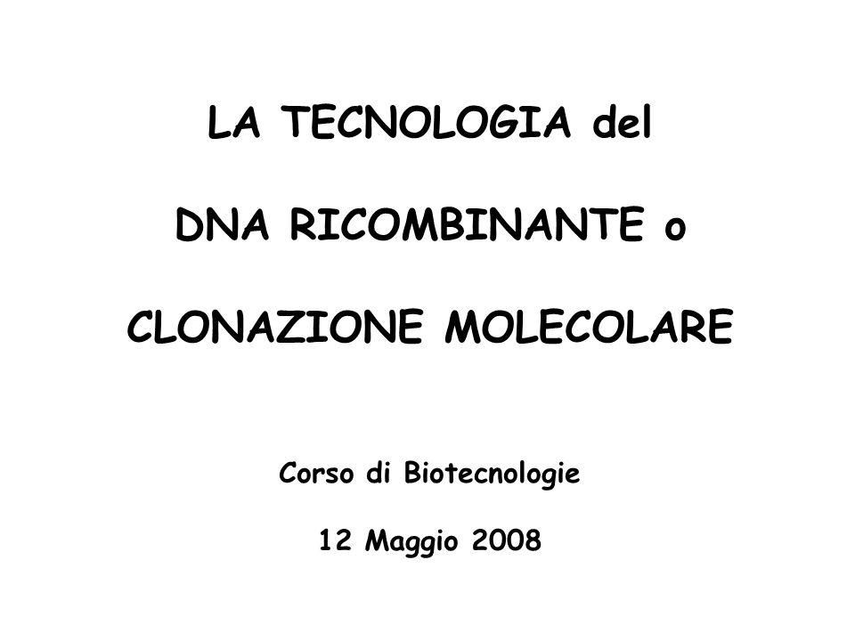 CLONAZIONE MOLECOLARE Corso di Biotecnologie