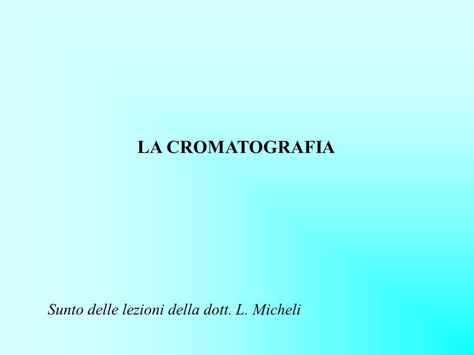LA CROMATOGRAFIA Sunto delle lezioni della dott. L. Micheli
