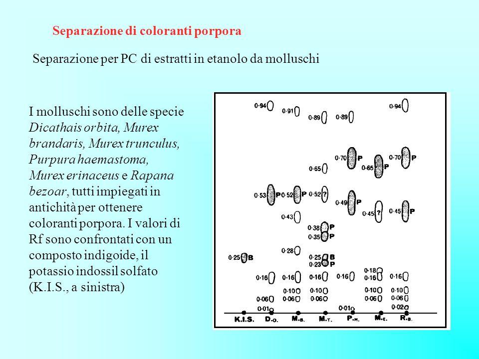Separazione di coloranti porpora
