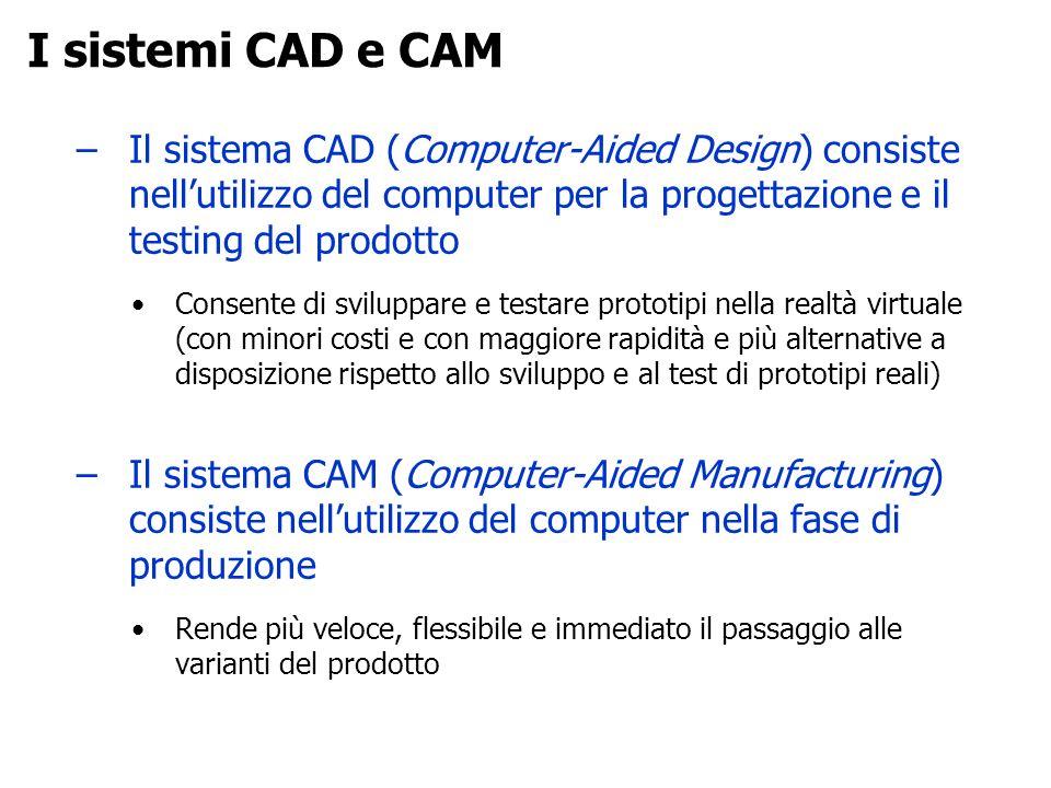 I sistemi CAD e CAM Il sistema CAD (Computer-Aided Design) consiste nell'utilizzo del computer per la progettazione e il testing del prodotto.