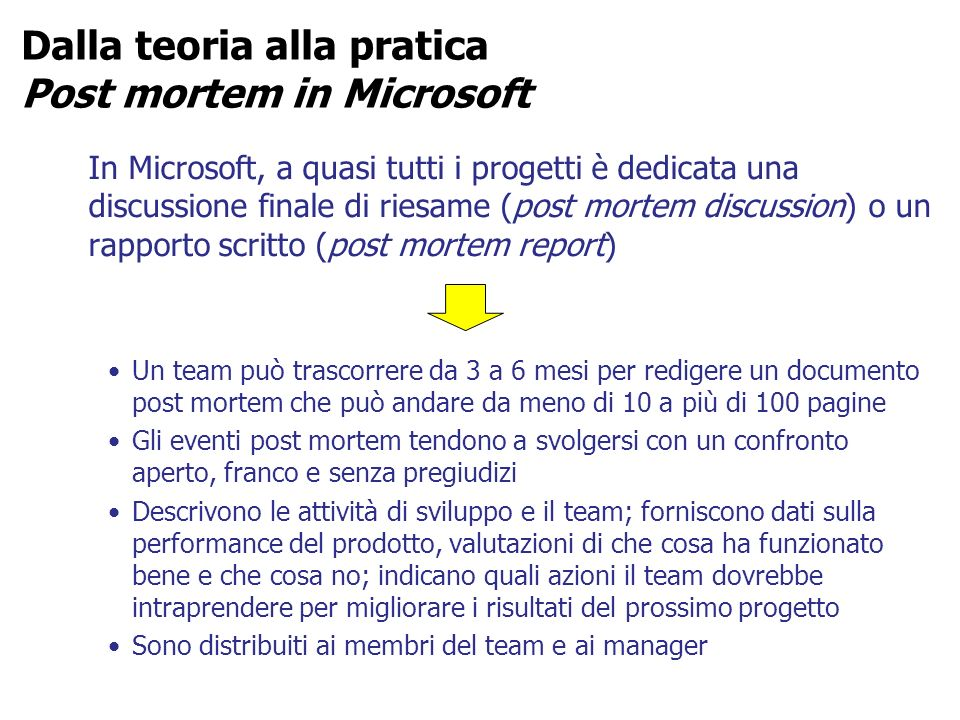 Dalla teoria alla pratica Post mortem in Microsoft