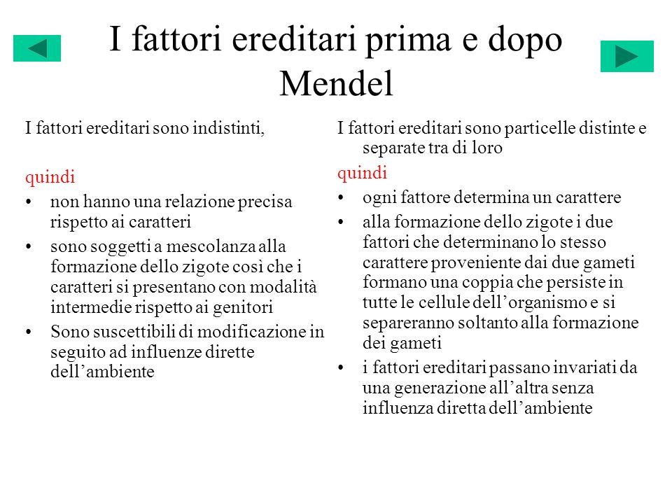 I fattori ereditari prima e dopo Mendel