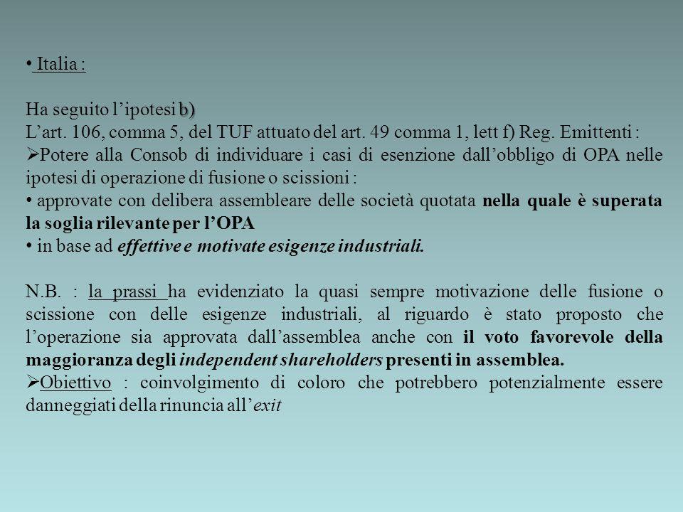 Italia : Ha seguito l'ipotesi b) L'art. 106, comma 5, del TUF attuato del art. 49 comma 1, lett f) Reg. Emittenti :