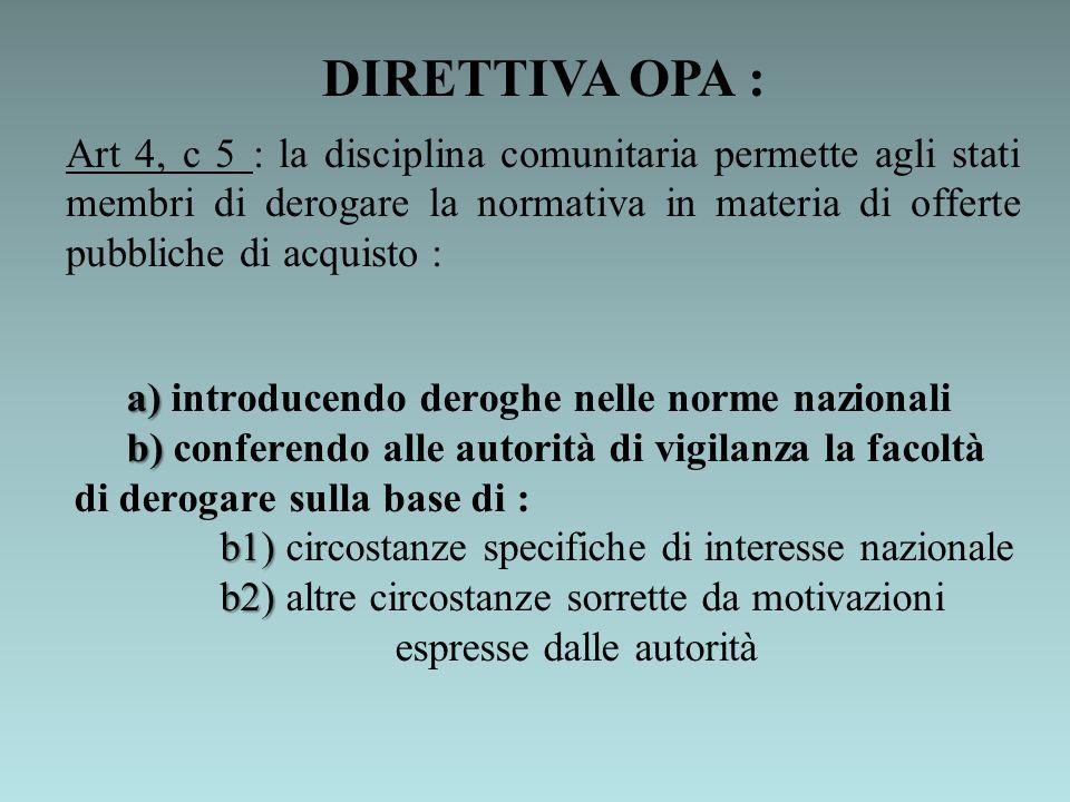 DIRETTIVA OPA :