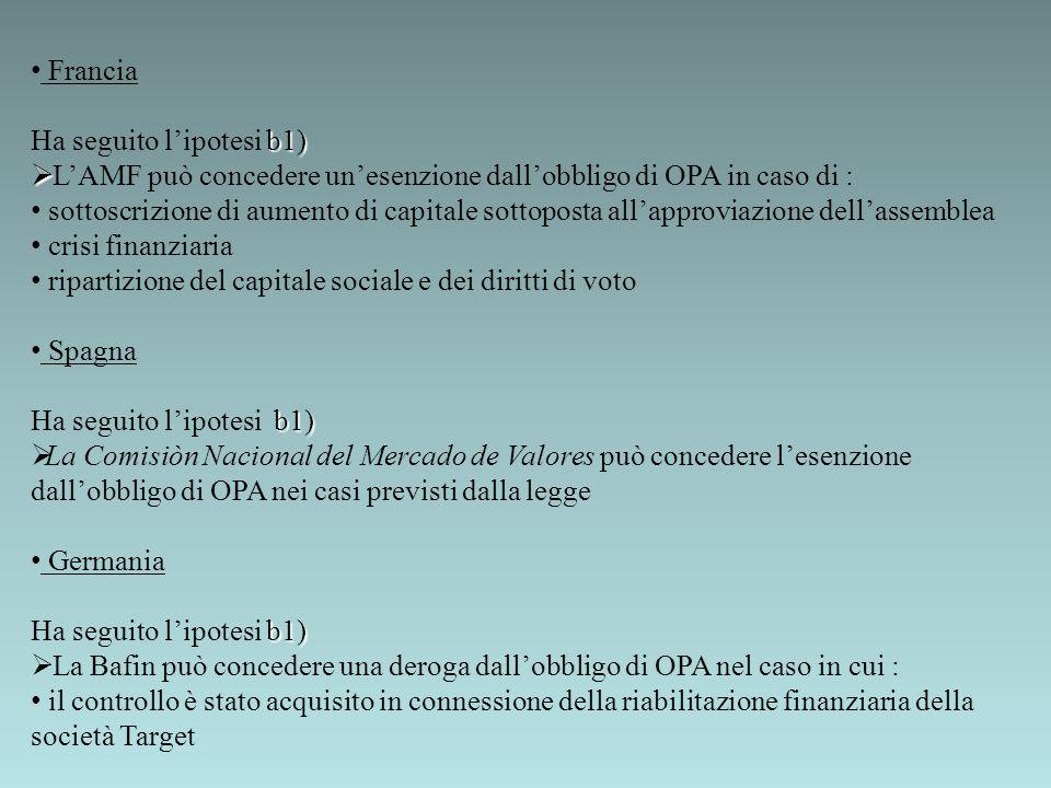 Francia Ha seguito l'ipotesi b1) L'AMF può concedere un'esenzione dall'obbligo di OPA in caso di :