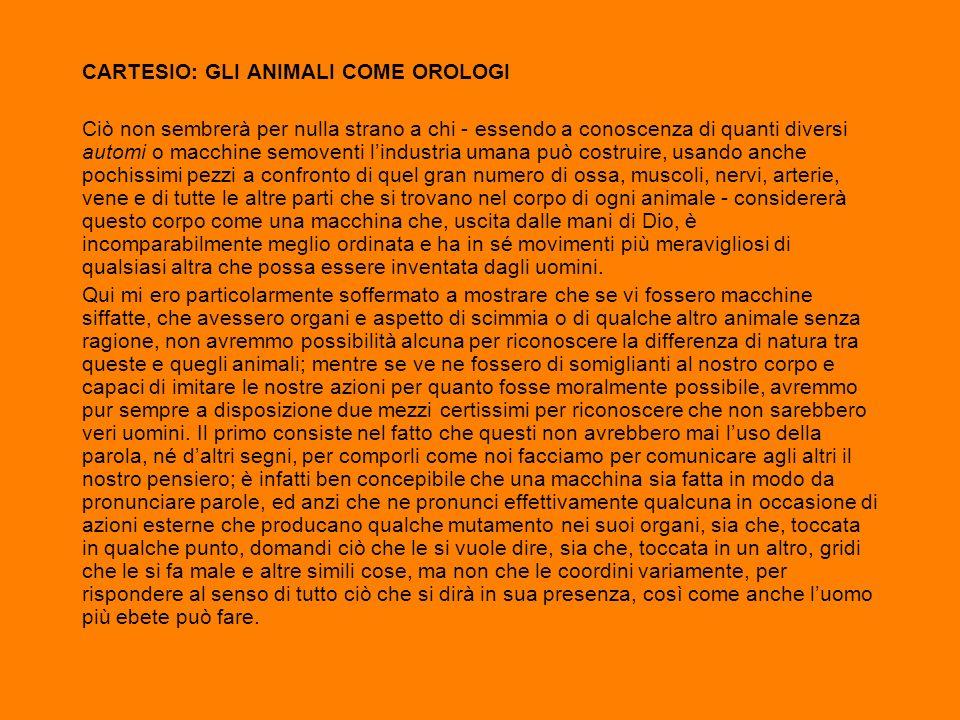 CARTESIO: GLI ANIMALI COME OROLOGI