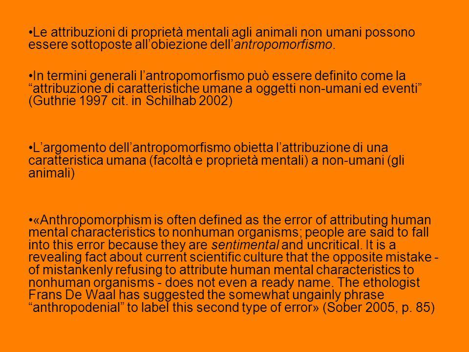 Le attribuzioni di proprietà mentali agli animali non umani possono essere sottoposte all'obiezione dell'antropomorfismo.