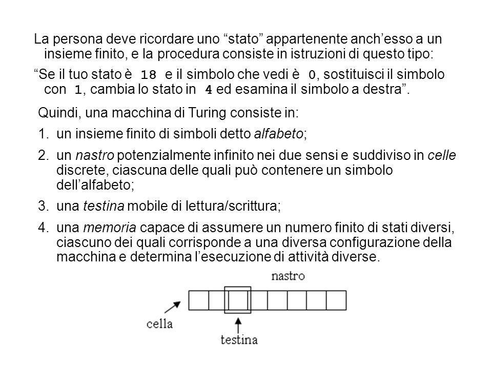 La persona deve ricordare uno stato appartenente anch'esso a un insieme finito, e la procedura consiste in istruzioni di questo tipo: