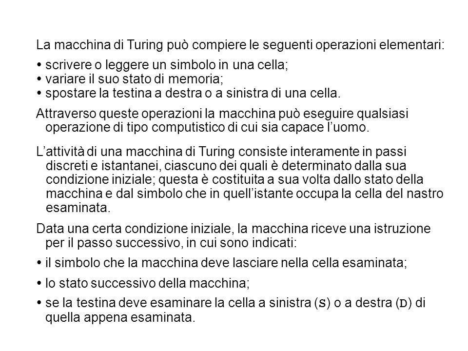 La macchina di Turing può compiere le seguenti operazioni elementari: