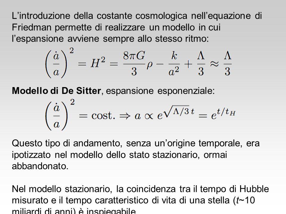 L'introduzione della costante cosmologica nell'equazione di Friedman permette di realizzare un modello in cui l'espansione avviene sempre allo stesso ritmo: