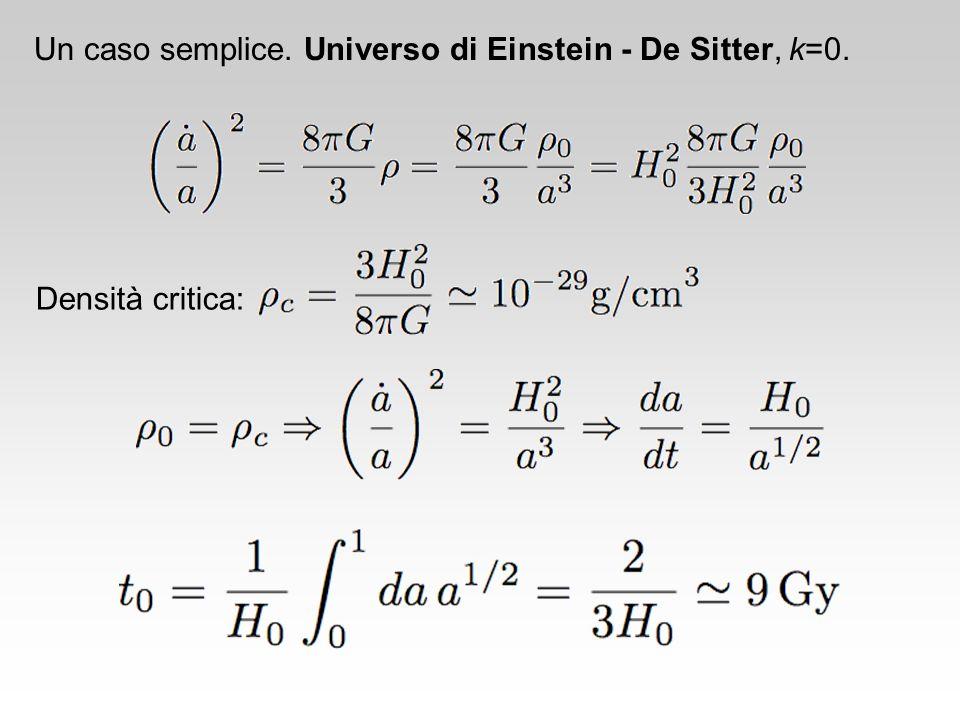 Un caso semplice. Universo di Einstein - De Sitter, k=0.