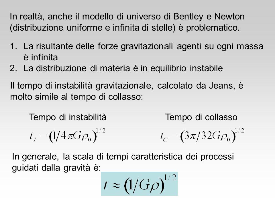 In realtà, anche il modello di universo di Bentley e Newton (distribuzione uniforme e infinita di stelle) è problematico.