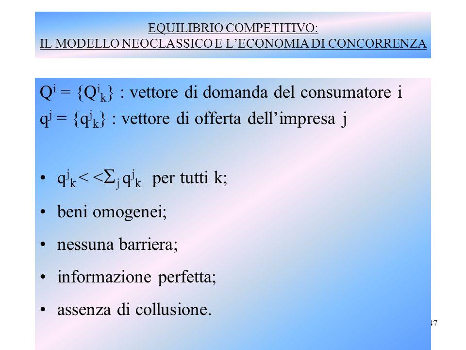 Qi = {Qik} : vettore di domanda del consumatore i