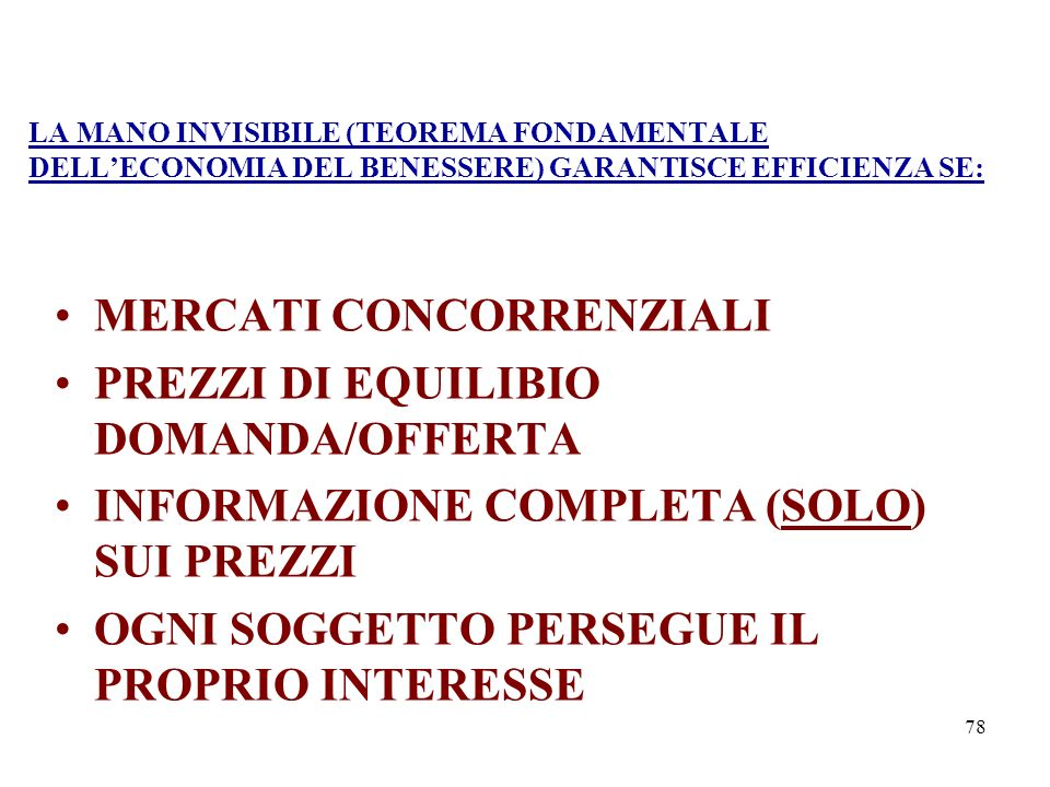 MERCATI CONCORRENZIALI PREZZI DI EQUILIBIO DOMANDA/OFFERTA