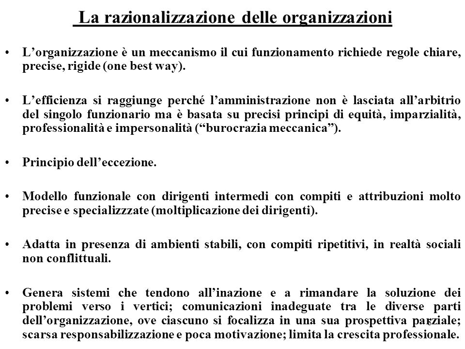 La razionalizzazione delle organizzazioni