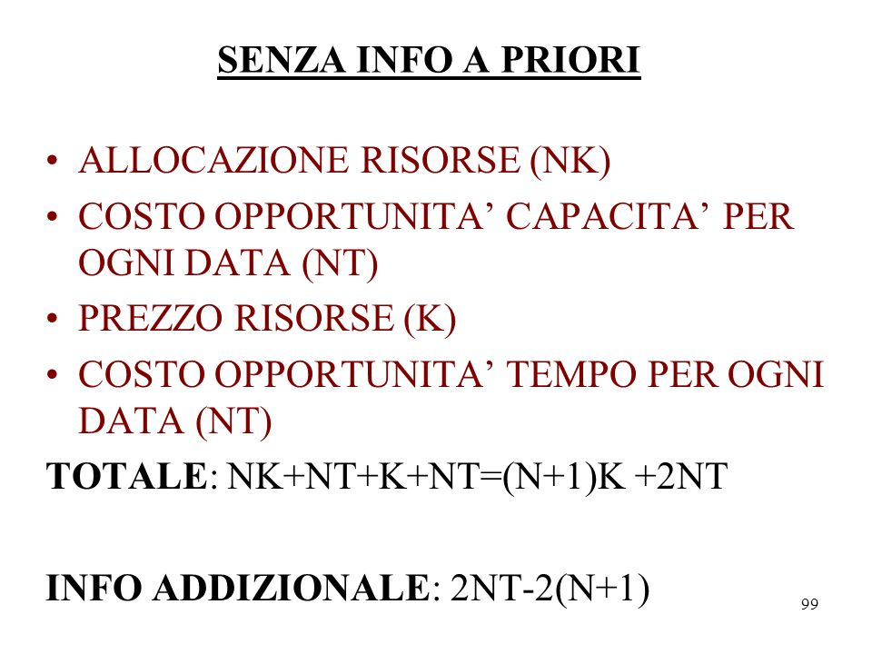 SENZA INFO A PRIORI ALLOCAZIONE RISORSE (NK) COSTO OPPORTUNITA' CAPACITA' PER OGNI DATA (NT) PREZZO RISORSE (K)