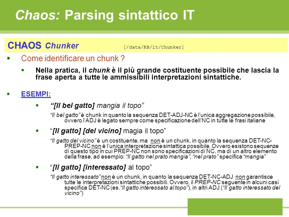Chaos: Parsing sintattico IT
