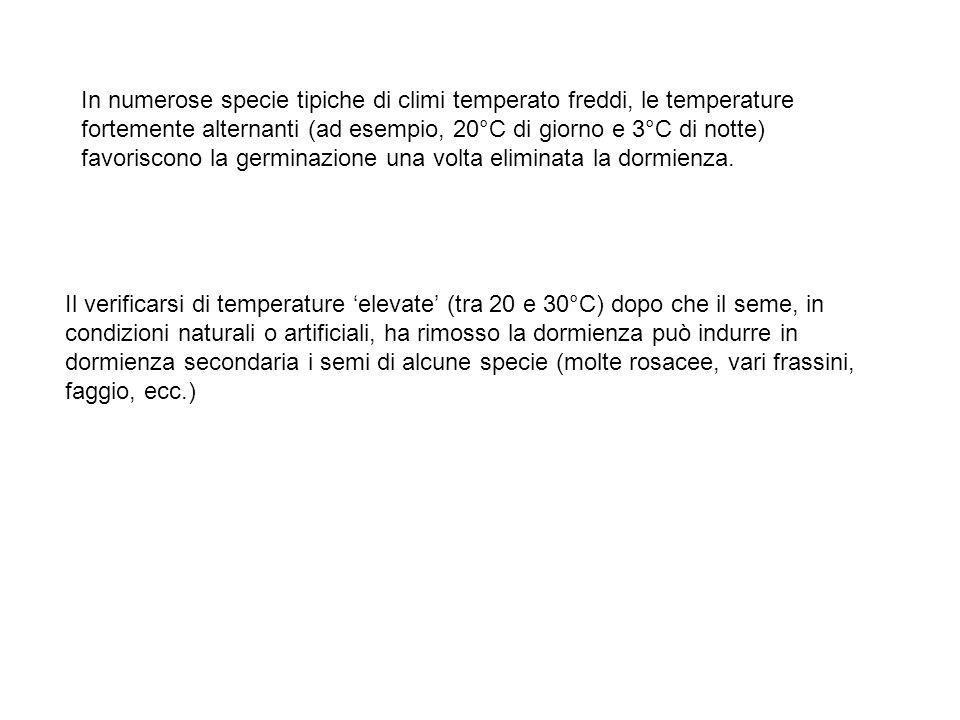 In numerose specie tipiche di climi temperato freddi, le temperature