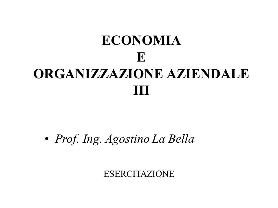 ECONOMIA E ORGANIZZAZIONE AZIENDALE III