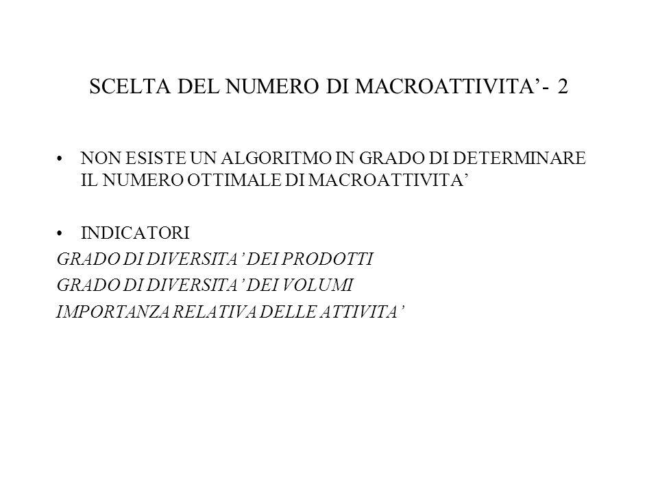 SCELTA DEL NUMERO DI MACROATTIVITA'- 2