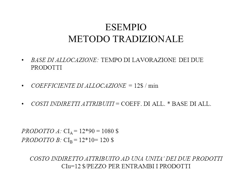 ESEMPIO METODO TRADIZIONALE