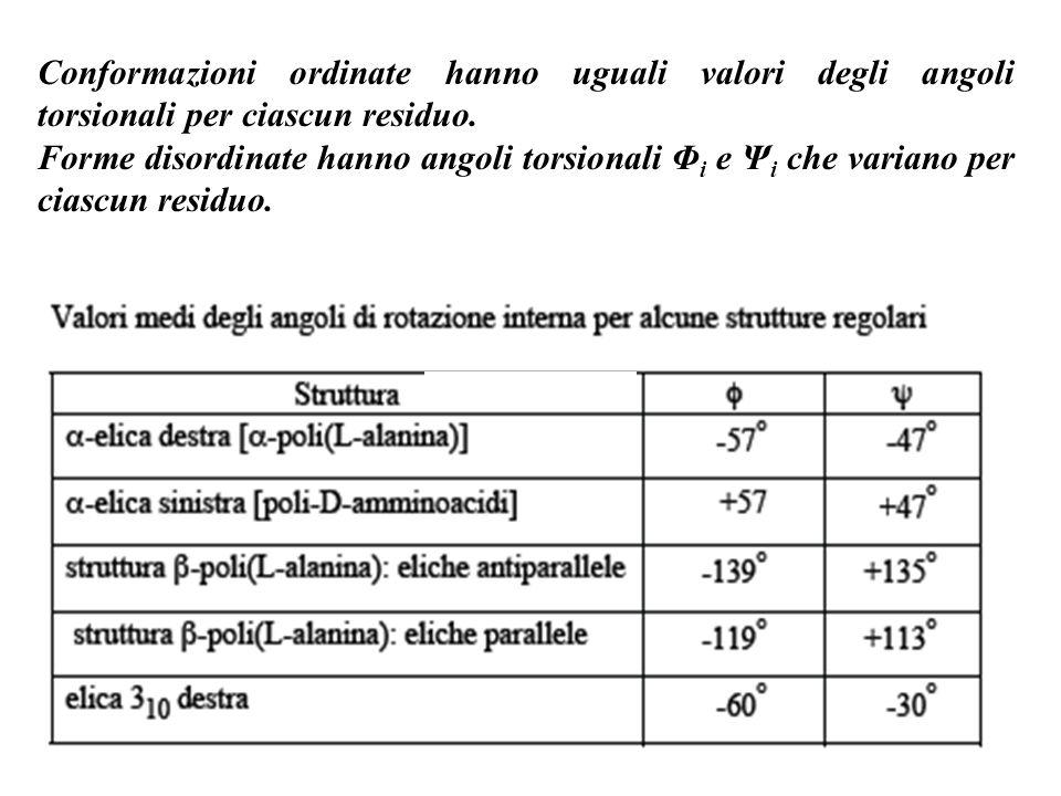Conformazioni ordinate hanno uguali valori degli angoli torsionali per ciascun residuo.