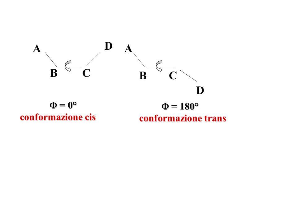 D A A B C B C D  = 0° conformazione cis  = 180° conformazione trans