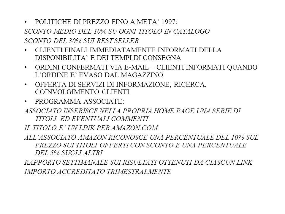 POLITICHE DI PREZZO FINO A META' 1997: