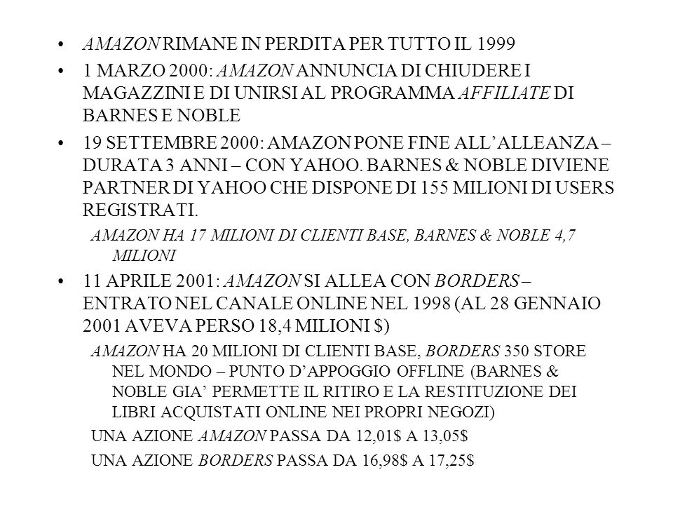 AMAZON RIMANE IN PERDITA PER TUTTO IL 1999