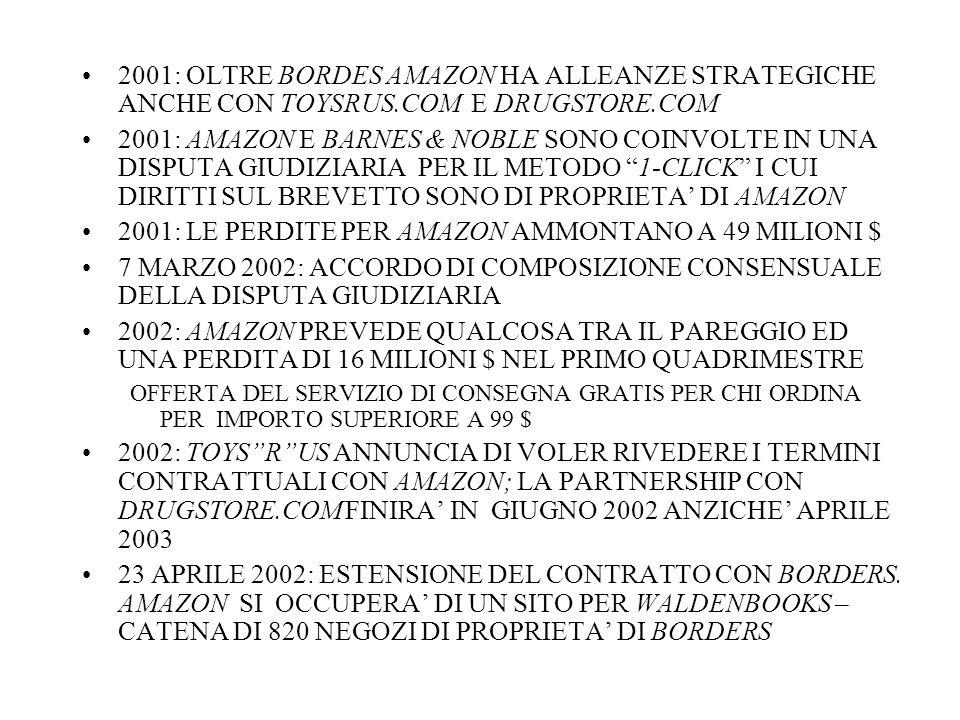 2001: LE PERDITE PER AMAZON AMMONTANO A 49 MILIONI $