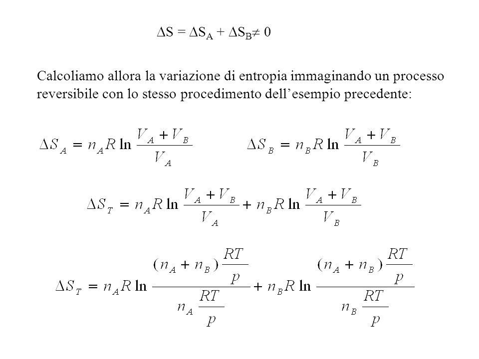 S = SA + SB 0 Calcoliamo allora la variazione di entropia immaginando un processo reversibile con lo stesso procedimento dell'esempio precedente: