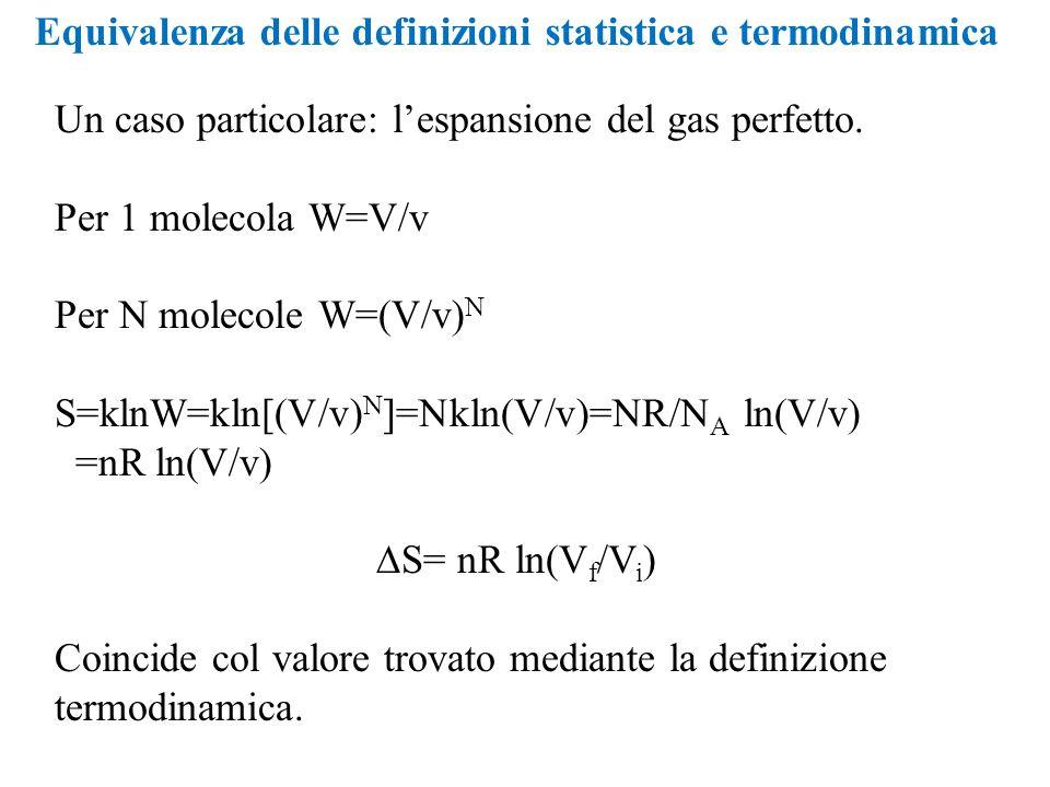 Equivalenza delle definizioni statistica e termodinamica