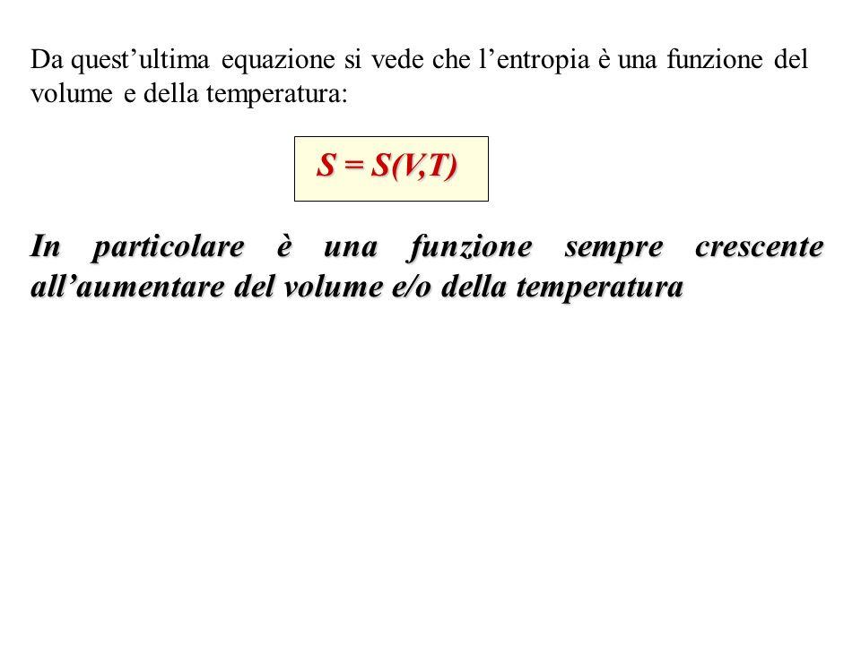 Da quest'ultima equazione si vede che l'entropia è una funzione del volume e della temperatura: