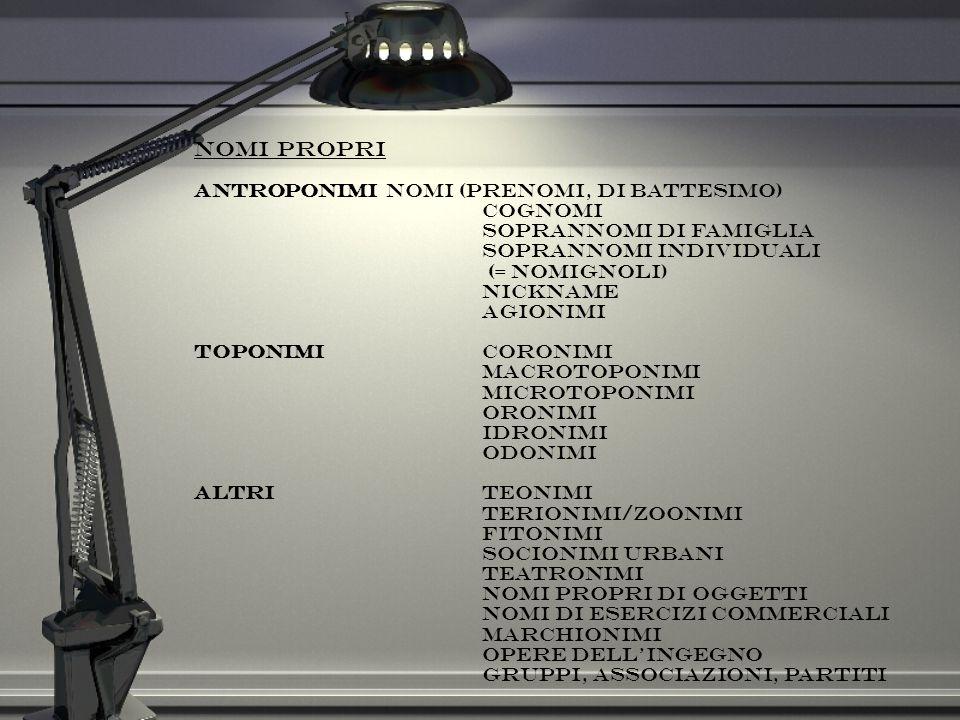 Nomi propri Antroponimi nomi (prenomi, di battesimo) cognomi