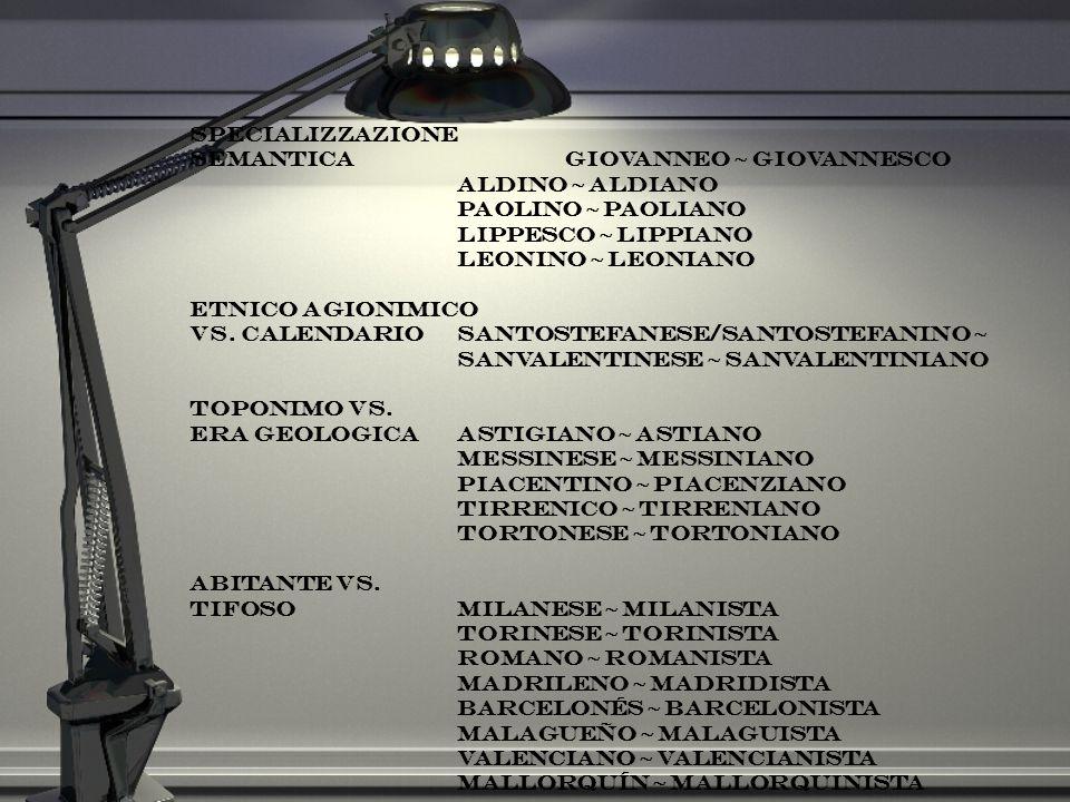 specializzazione semantica giovanneo ~ giovannesco. aldino ~ aldiano. paolino ~ paoliano. lippesco ~ lippiano.
