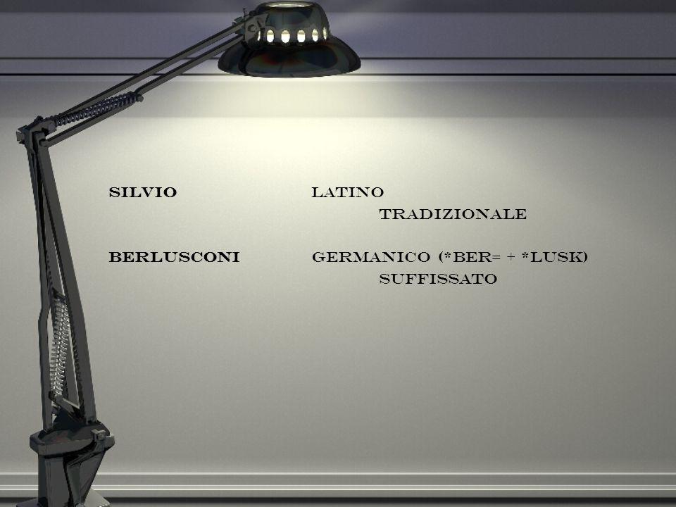 Silvio latino tradizionale Berlusconi germanico (*ber= + *lusk) suffissato