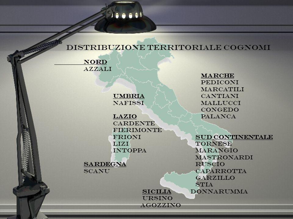Distribuzione territoriale cognomi