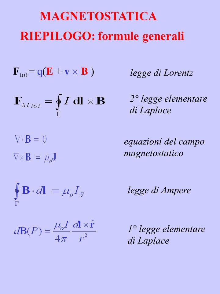 RIEPILOGO: formule generali