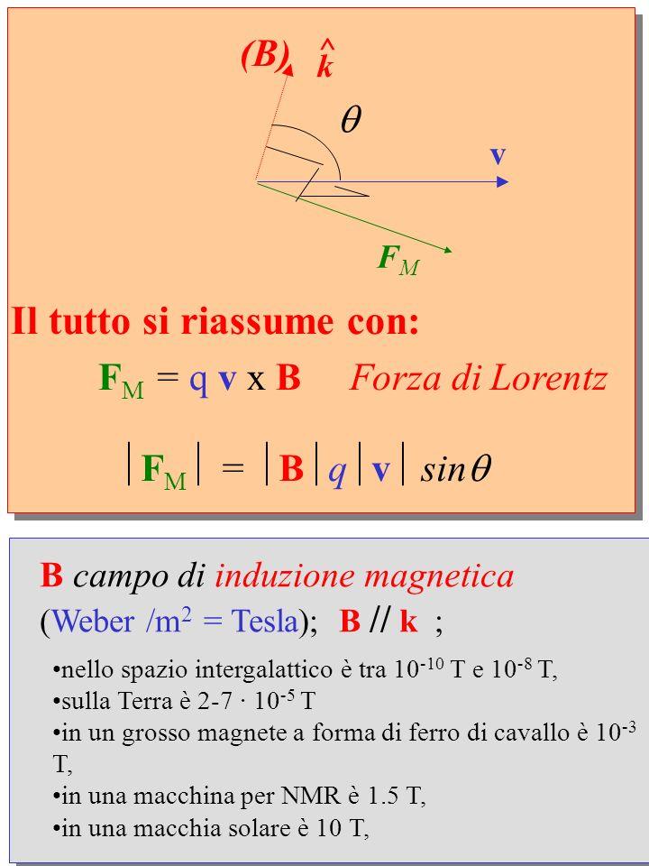 FM = q v x B Forza di Lorentz